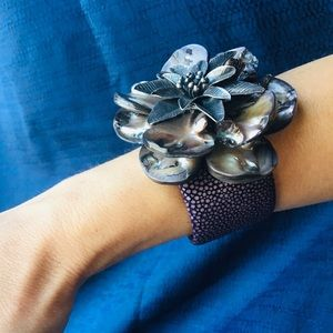 Abalone silver 925 and leather bracelet